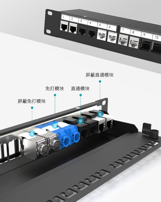 1U24口-屏蔽网络空配架