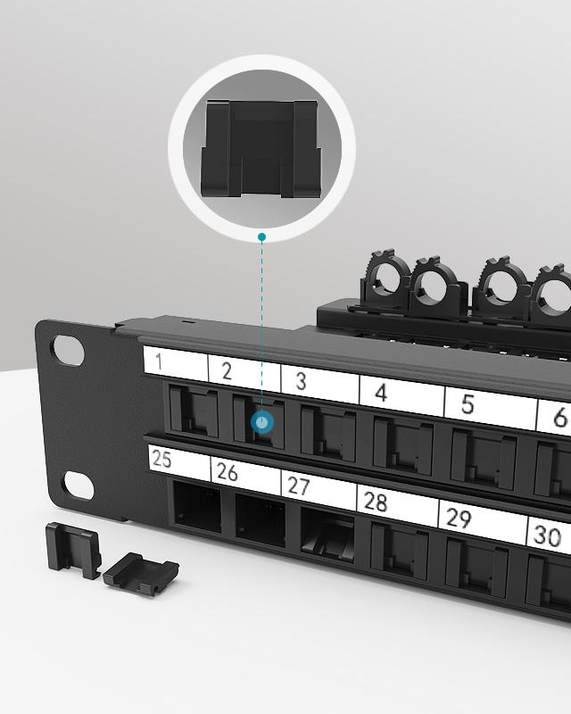 1U48口-防尘网络配线架